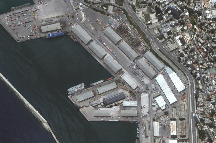 A satellite image shows the port of Beirut before an explosion