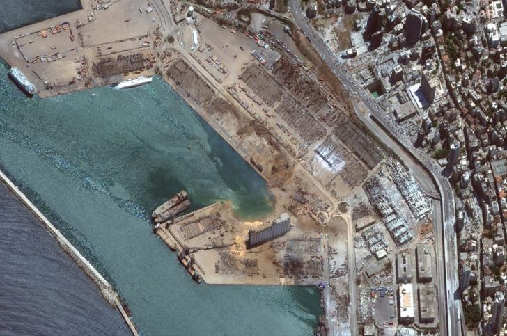 A satellite image shows the port of Beirut after an explosion